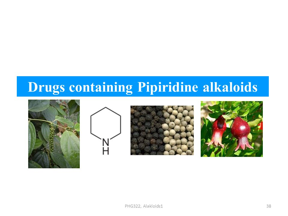 Drugs containing Pipiridine alkaloids