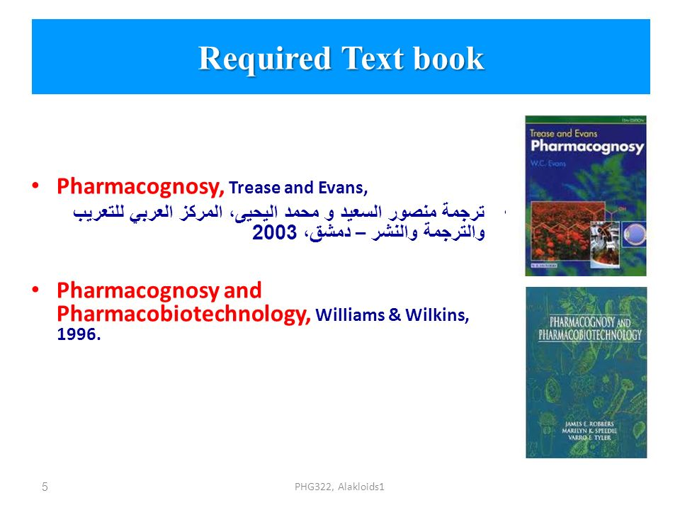 Required Text book Pharmacognosy, Trease and Evans,