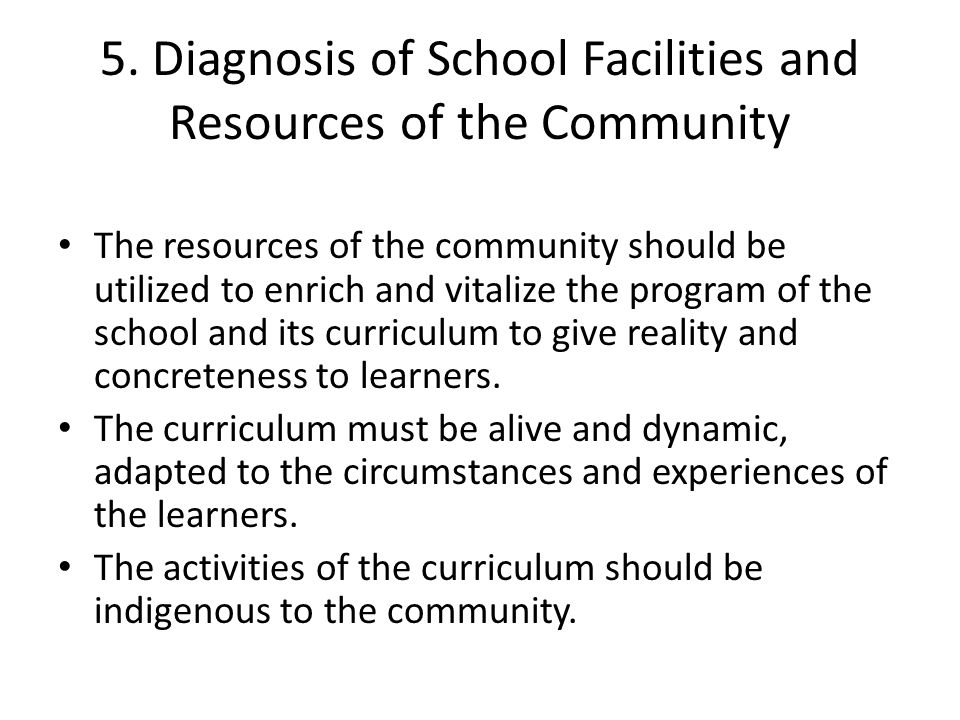 5. Diagnosis of School Facilities and Resources of the Community