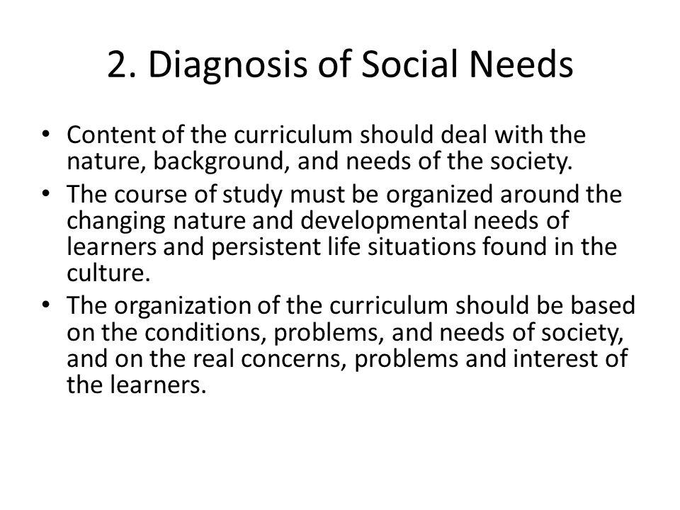 2. Diagnosis of Social Needs