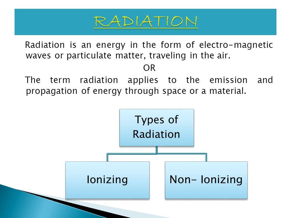 RADIATION Non- Ionizing Types of Radiation Ionizing