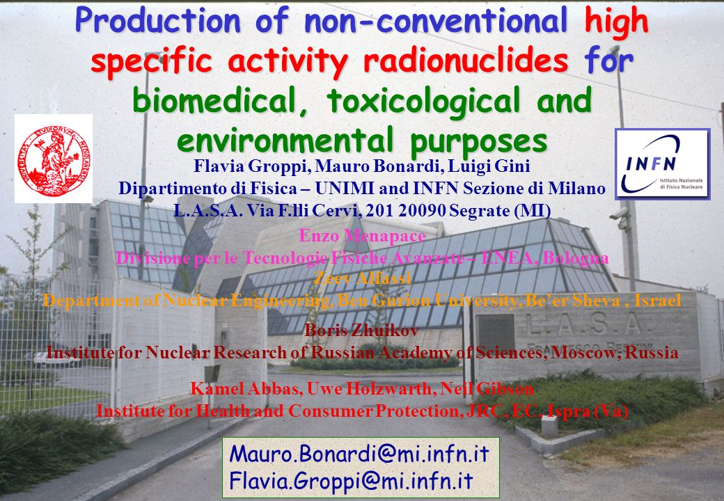 Production of non-conventional high specific activity radionuclides for biomedical, toxicological and environmental purposes
