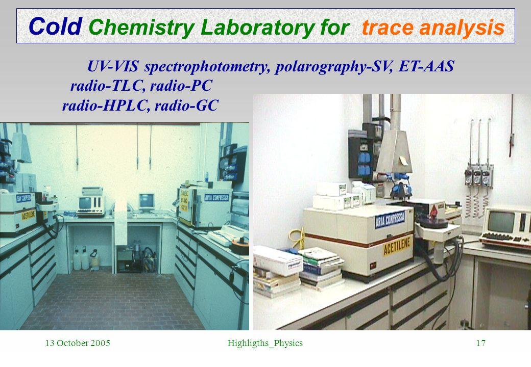 Cold Chemistry Laboratory for trace analysis