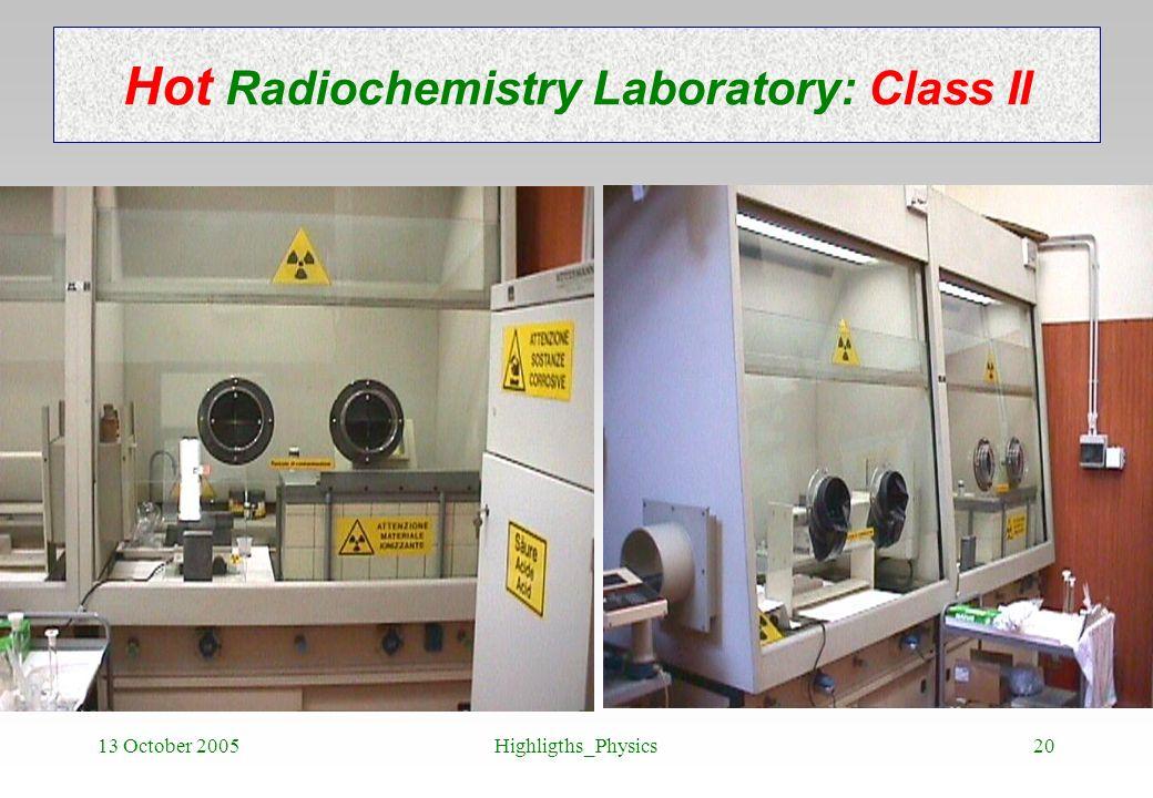 Hot Radiochemistry Laboratory: Class II