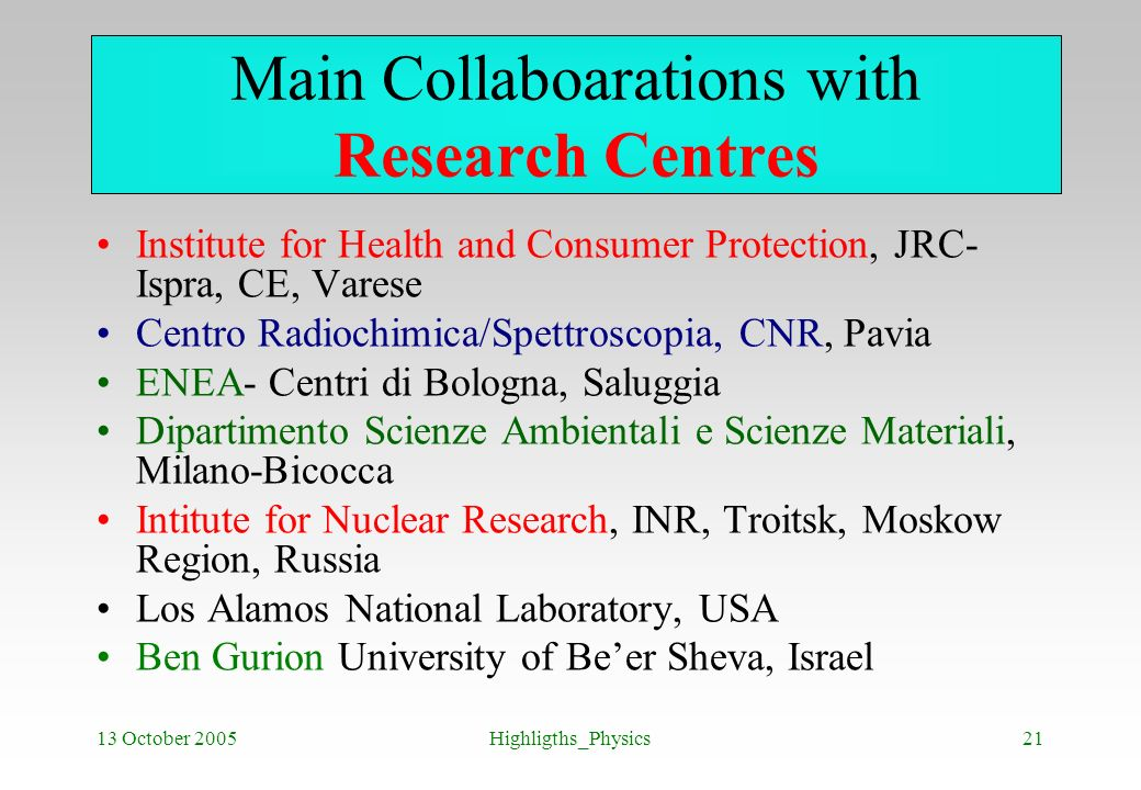 Main Collaboarations with Research Centres