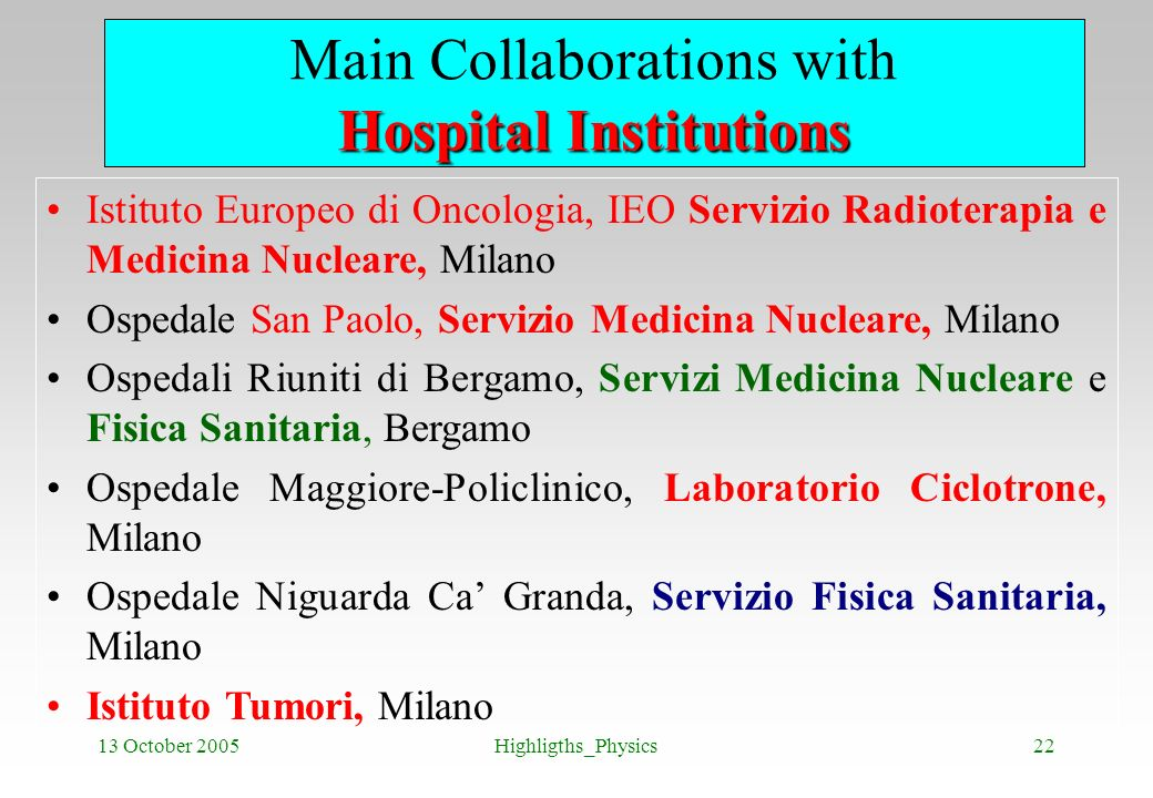 Main Collaborations with Hospital Institutions