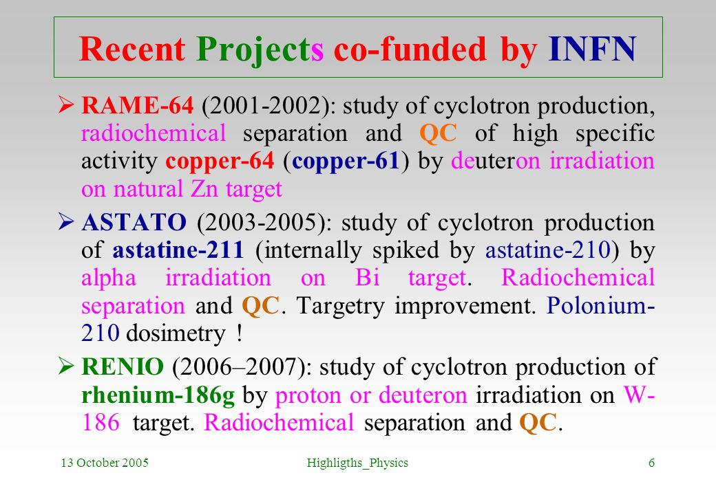 Recent Projects co-funded by INFN