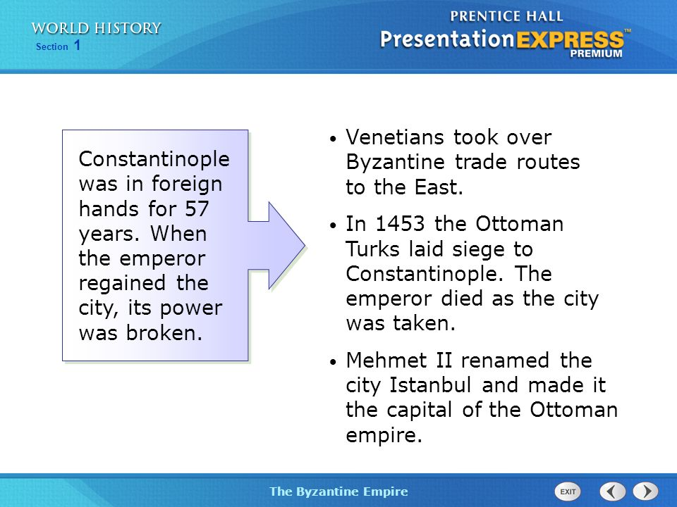 Venetians took over Byzantine trade routes to the East.