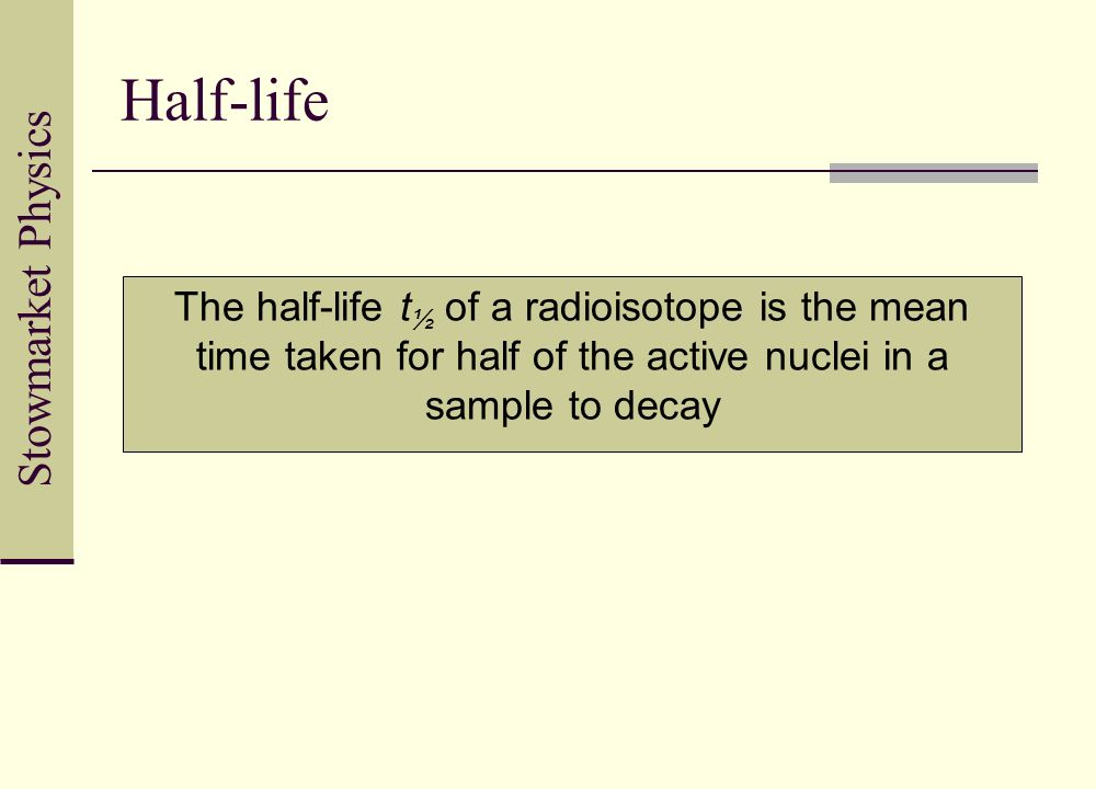 The half life of a radioisotope