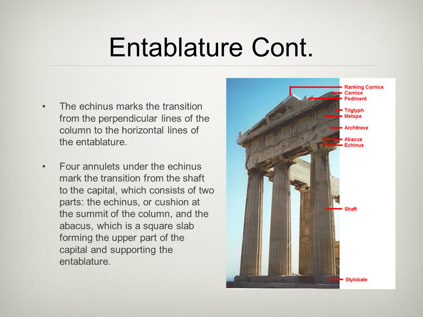 The Parthenon Columns And Entablature