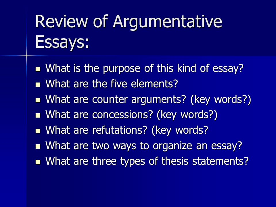 reviewing an argumentative essay Creating argumentative essays - chapter summary from reviewing what an argumentative essay is to structuring this type of essay, this chapter is designed to cover all aspects of writing argumentative essays.