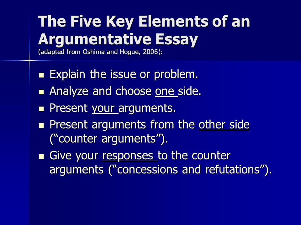 key elements of a essay All basic arguments have a few key elements as shown in toulmin's model above however, when space and time allow for it writing an argumentative essay.