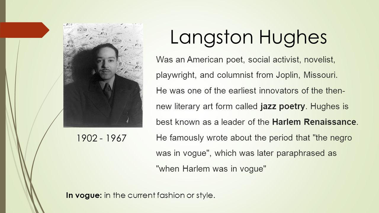 langston hughes writing style Hughes' had a simple and cultured writing style harlem is an analysis of a langston hughes poem the short but inspirational poem harlem  by.