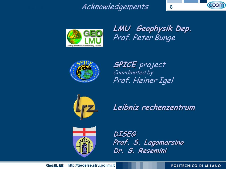 Acknowledgements GeoELSE.