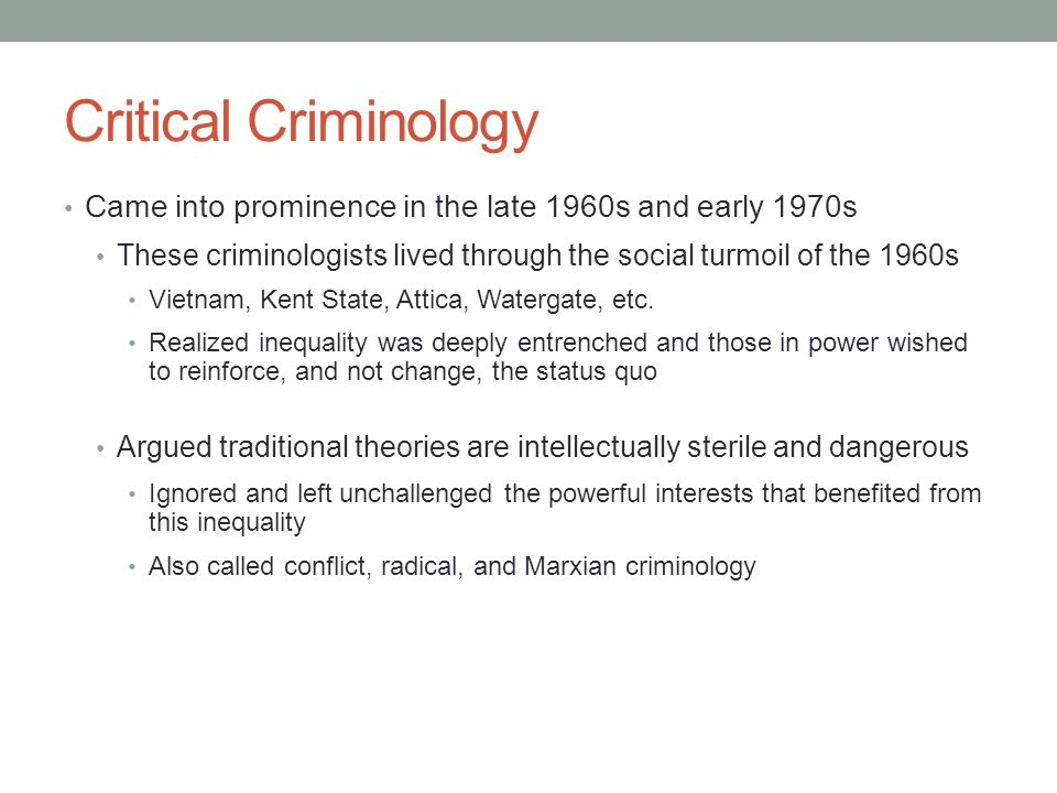critical criminology Root file : critical criminology by dave harris introduction this is a marxist  approach to deviancy and crime it has always stood in an uneasy coexistence.