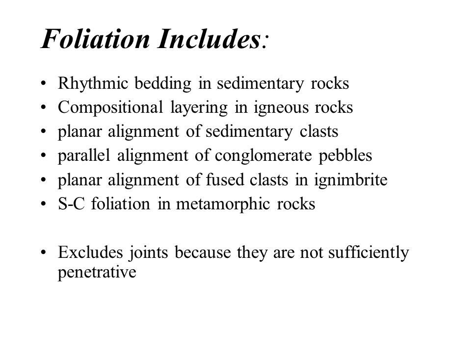 relationship between metamorphic foliation and sedimentary bedding