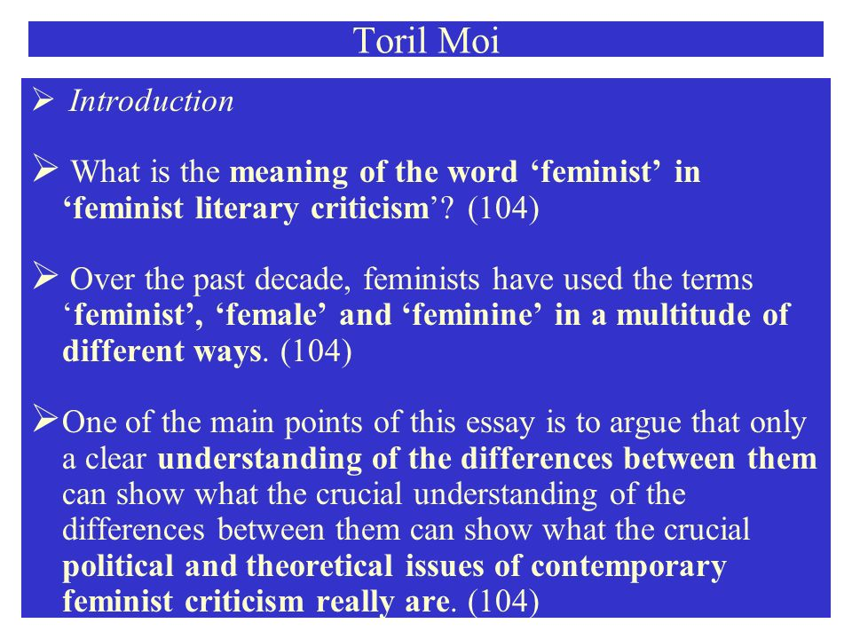 toril moi feminist female feminine ppt video online  what is the meaning of the word feminist in