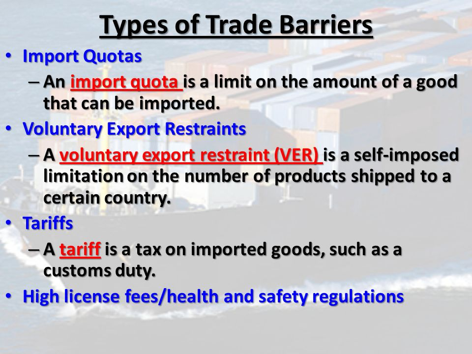 Types Of Trade Barriers Kubreforic