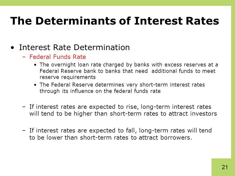 determinants of interest rates Inflation rate determinants and interest rate expectations are in many ways tied together find out about inflation rate determinants and interest rate expectations with help from a senior financial analyst in this free video clip.