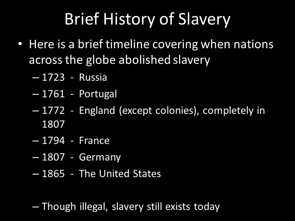 a brief history of african slavery in the united states Slavery in america essay examples  history of slavery in the united states and the emancipation proclamation  a brief review of a story of arabus about slavery.