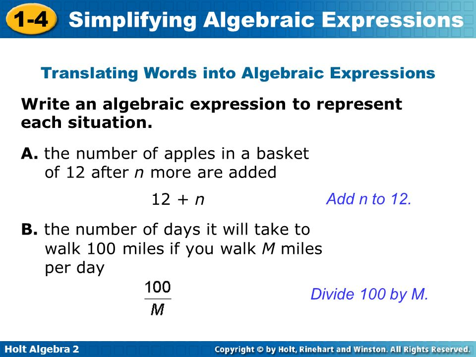 Simplify any Algebraic Expression