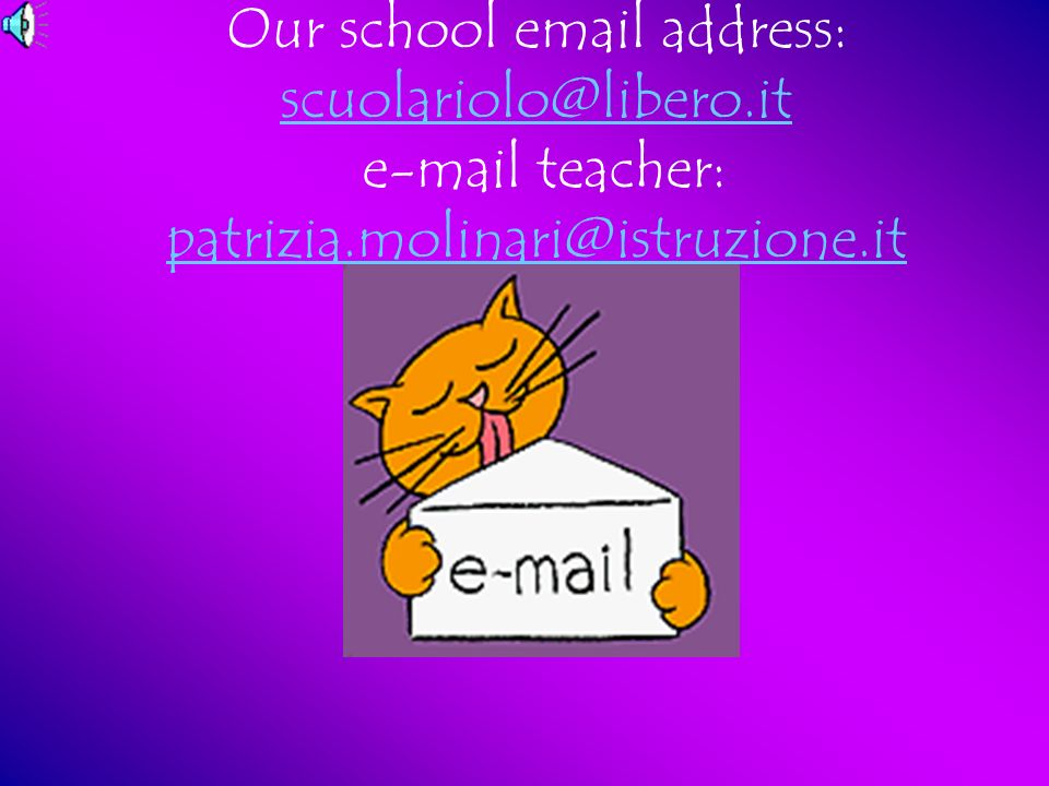 Our school email address: scuolariolo@libero