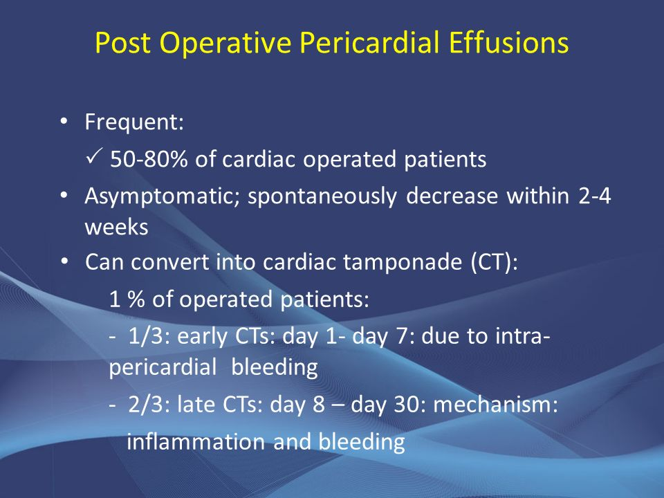 Post Operative Pericardial Effusions