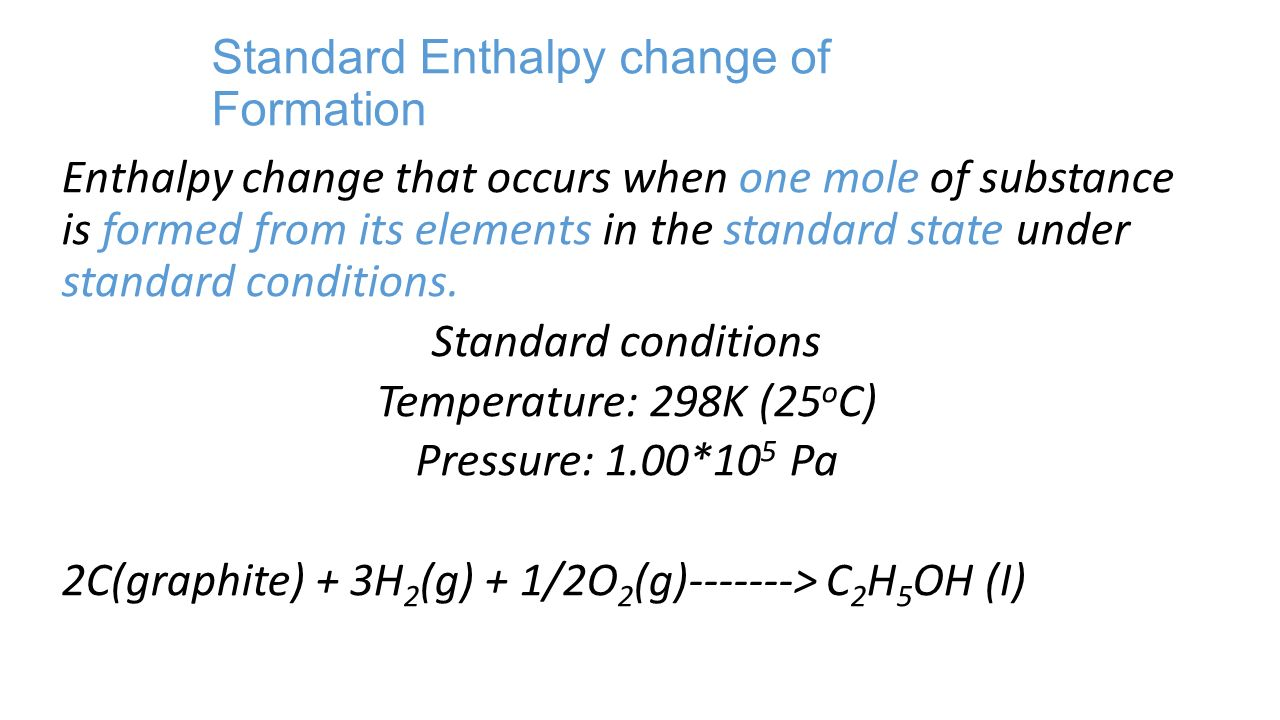 how to calculate enthalpy change given ehats of formation