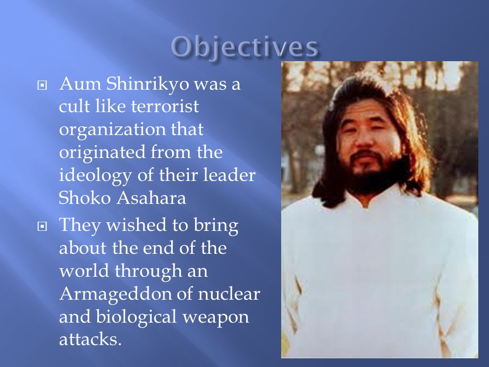 aum shinrikyo terrorist group Aum shinrikyo (オウム真理教, oumu shinrikyō) was a cult/terrorist group in japan that achieved official recognition as a religion in 1989 reaching its heyday in the 1990s.