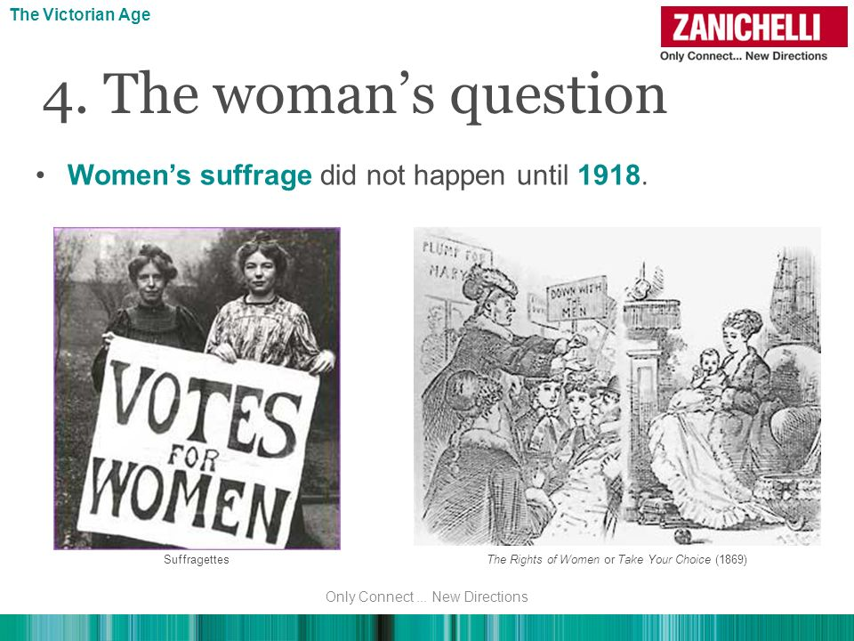 4. The woman's question Women's suffrage did not happen until 1918.