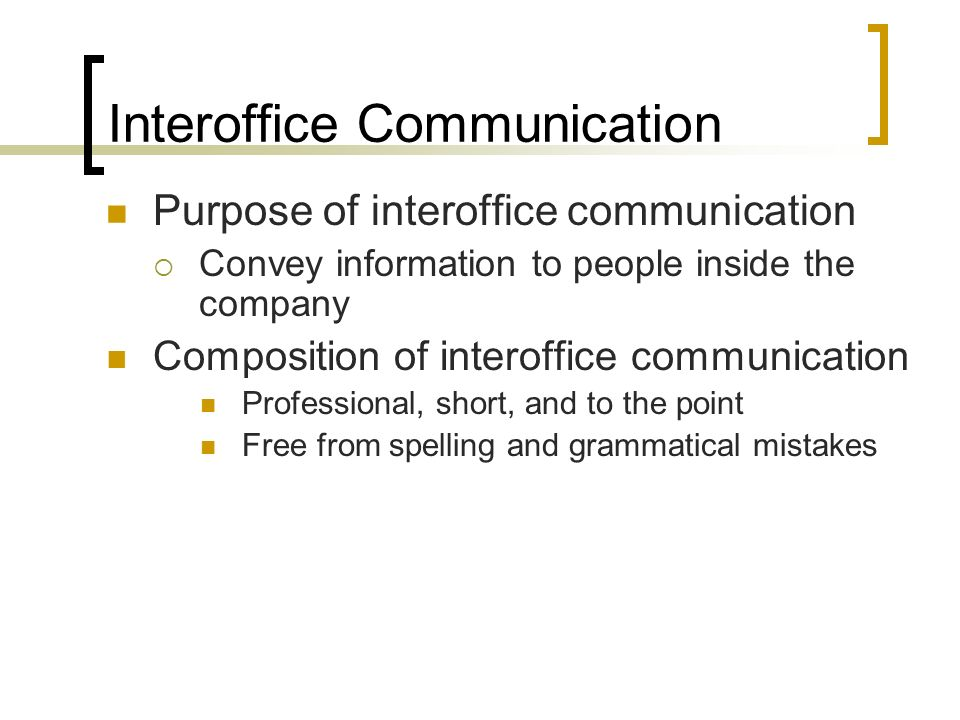 Business Correspondence ppt download – Inter Office Communication