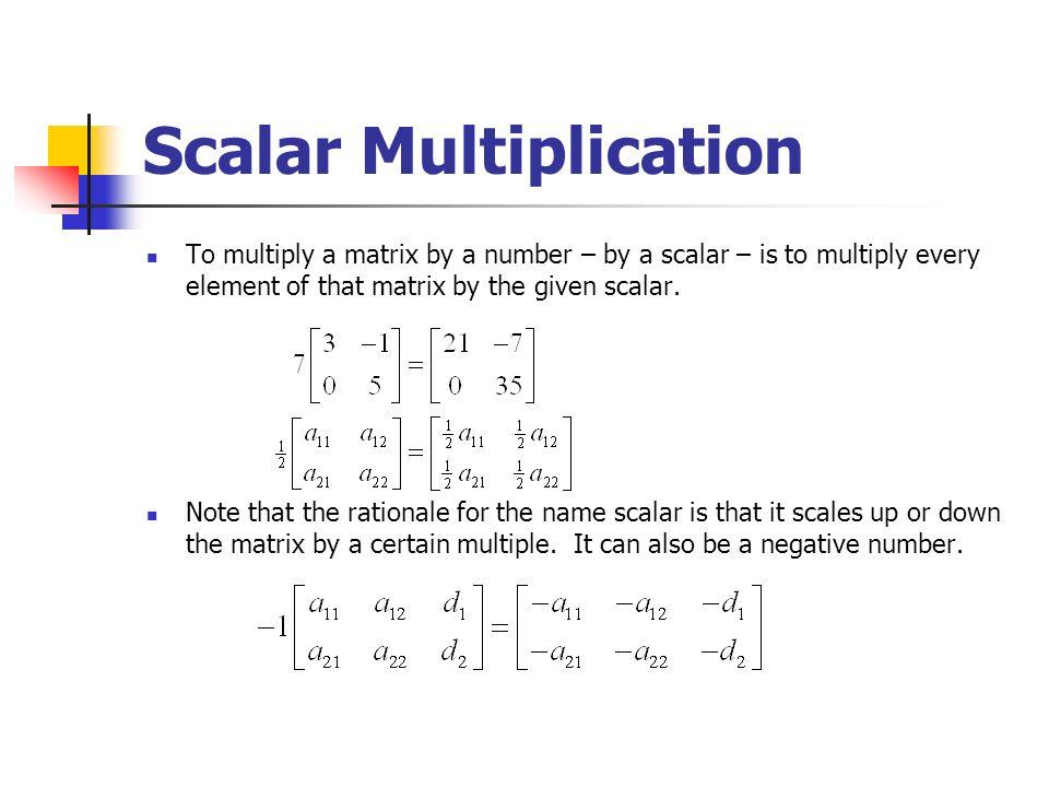 scalar multiplication of matrices pdf