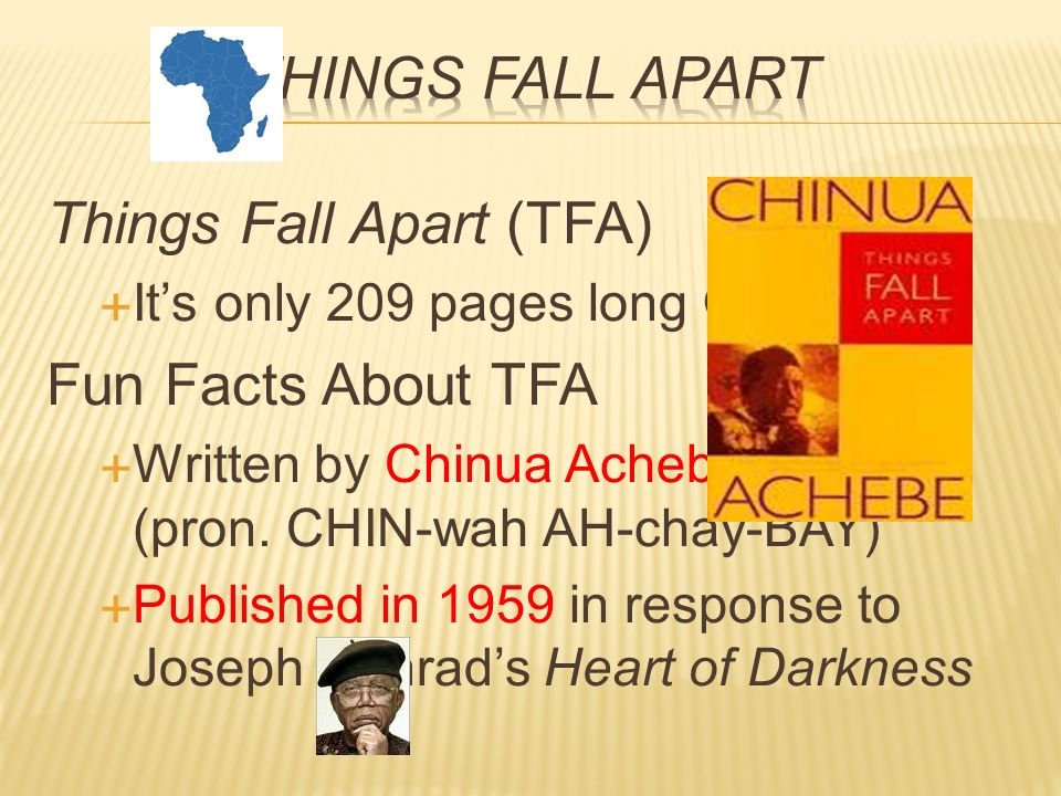 a comparison of heart of darkness by joseph conrad and things fall apart by chinua achebe In terms of the author, the heart of darkness was written by joseph conrad,   on the other hand, things fall apart was written by chinua achebe, an african.