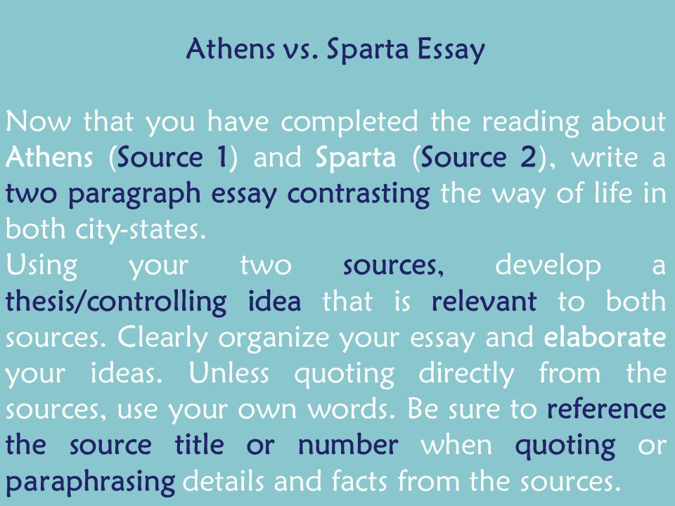 Athens vs sparta essays