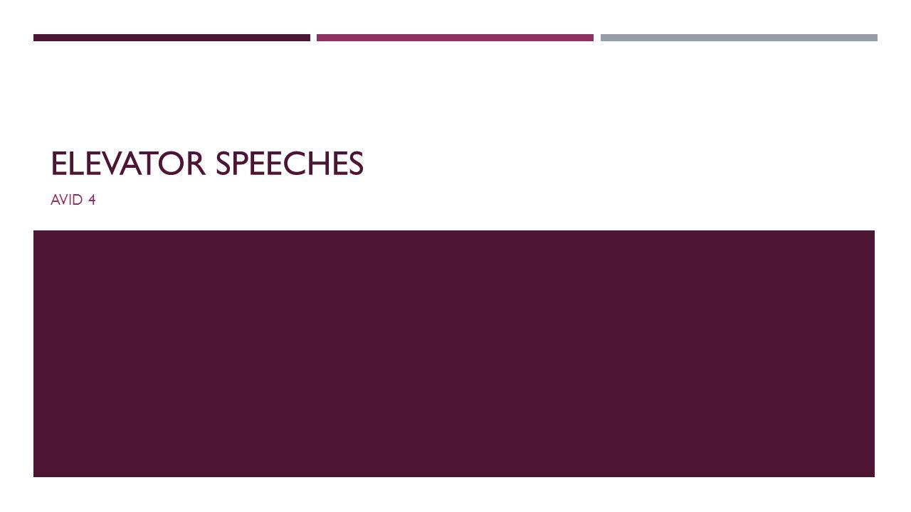 Elevator Speeches AVID ppt download