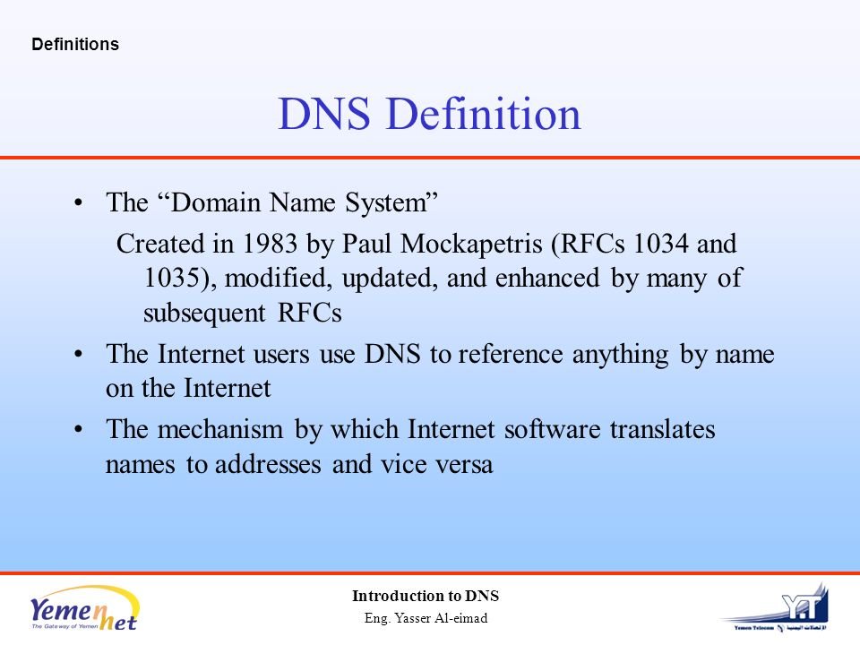 what is internet naming system Domain name system architecture the domain name system comprises of domain names, domain name space, name server that have been described below: domain names domain name is a symbolic string associated with an ip address.