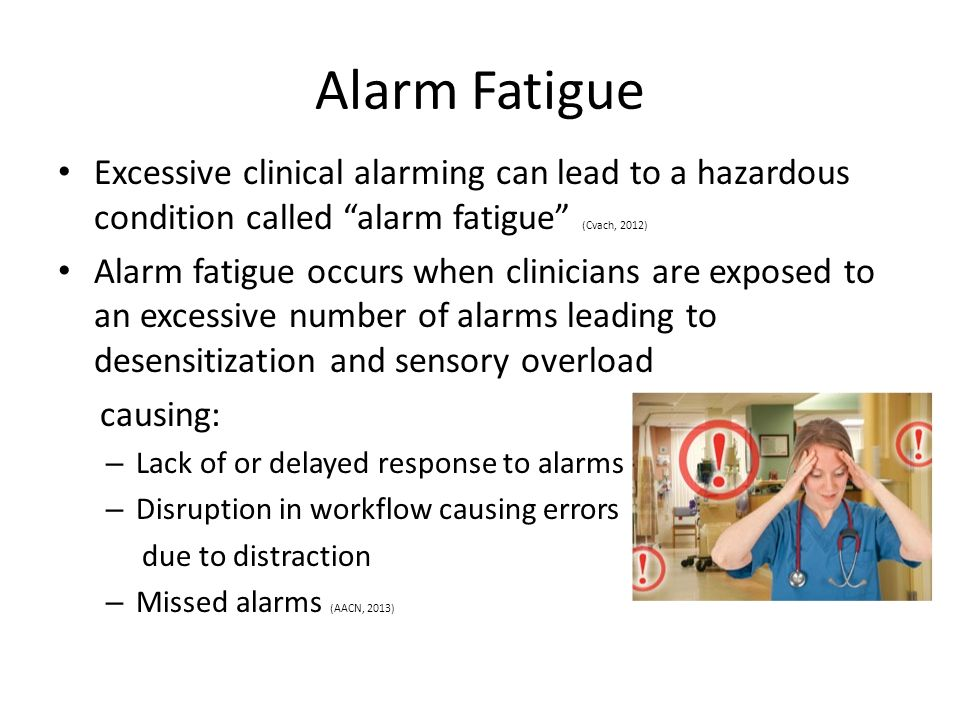 monitor alarm fatigue Free online library: monitor alarm fatigue(nurse's response to monitor alarms) by dynamics health care industry alarms management electric alarms evidence-based medicine nurses practice patient monitoring physiologic monitoring.