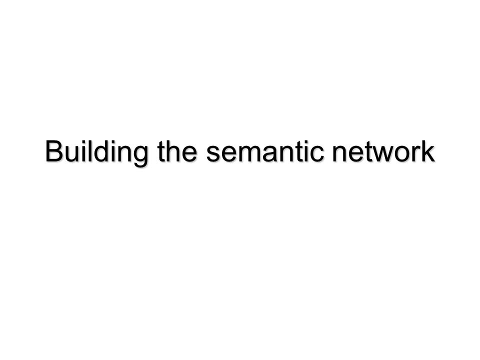Building the semantic network