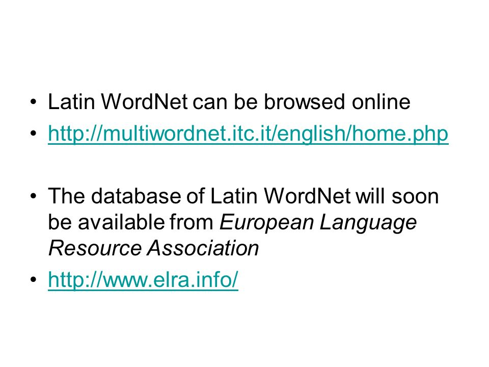 Latin WordNet can be browsed online