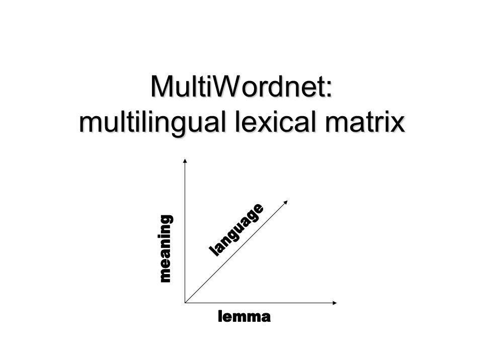 MultiWordnet: multilingual lexical matrix
