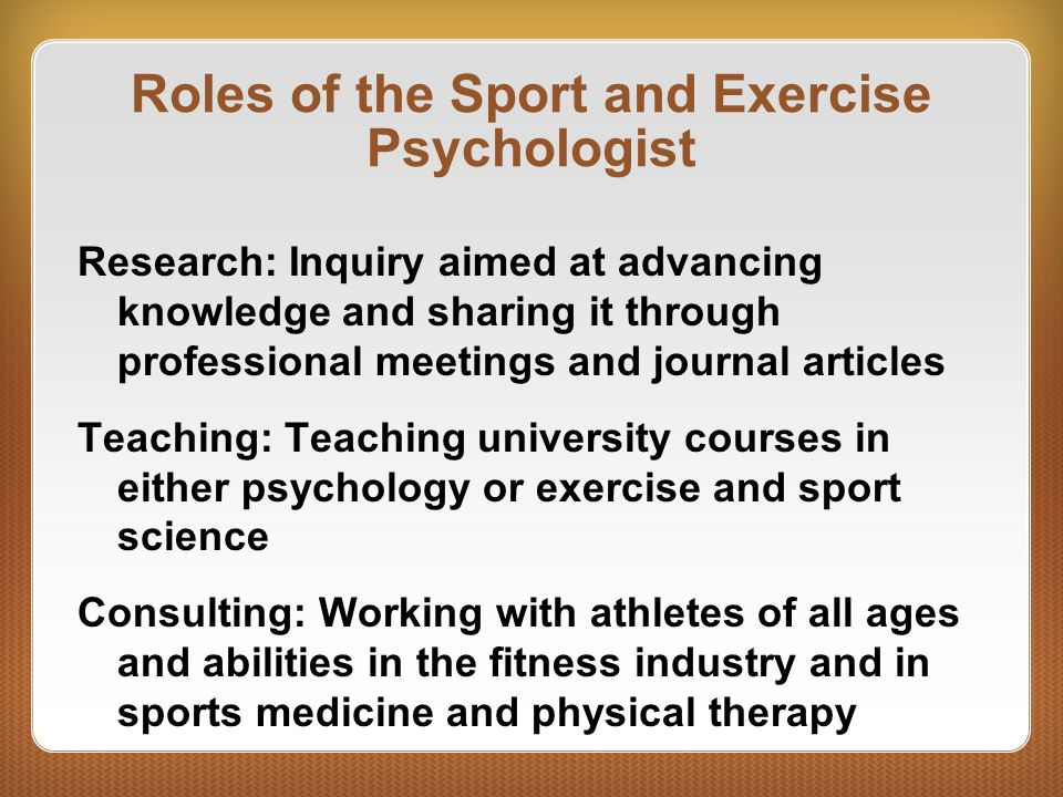 sport and exercise psychology essay Sport and exercise psychology (cohesion) introduction cohesion is a very integral part of sport and exercise psychology the focus of the management of any team is unity.