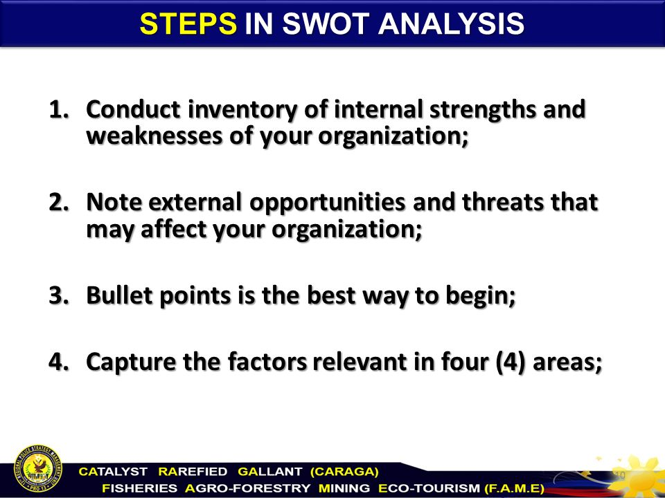conduct a swot analysis This essay gives an outline of swot analysis, what it is and how it helps businesses it also provide swot analysis examples from key business sectors.