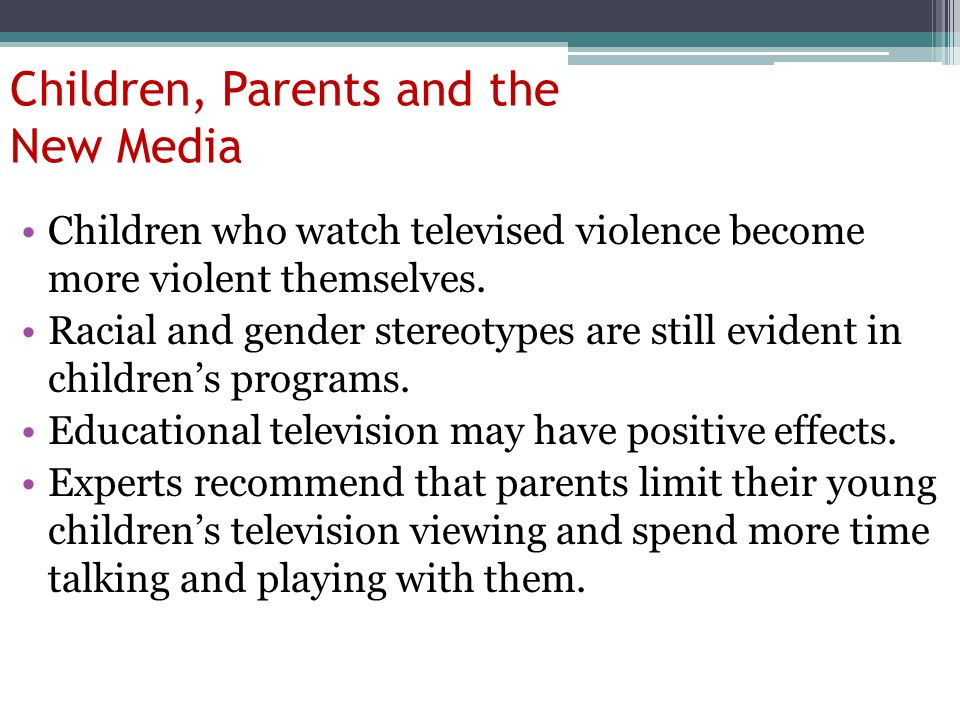 the impact of childrens television programs on the development of aggression Kids learn a great deal about social norms from movies and television this report explores the effects of on-screen gender stereotypes on kids' beliefs and behaviors and highlights opportunities for greater gender equity in children's media.