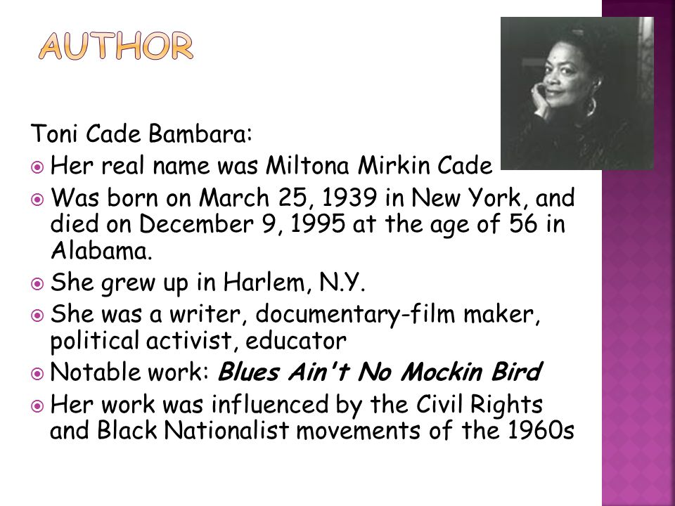toni cade bambara research paper The lesson by toni cade bambara the lesson by toni cade bambara research paper get an introduction to the lesson ' sylvia is around ten years old and toni cade.