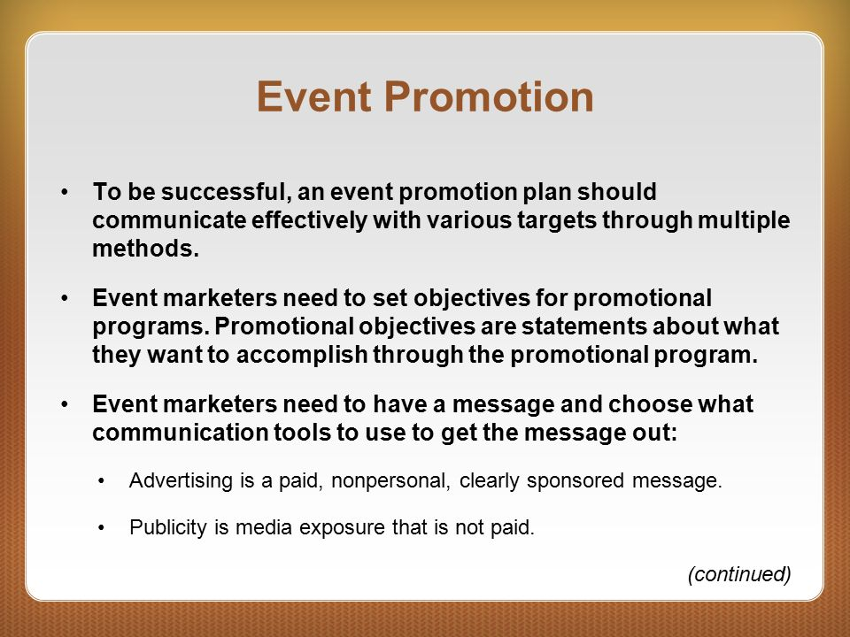event promotion plan A successful event marketing plan helps raise awareness and attract  for your  event marketing plan to work, you need to define a clear.