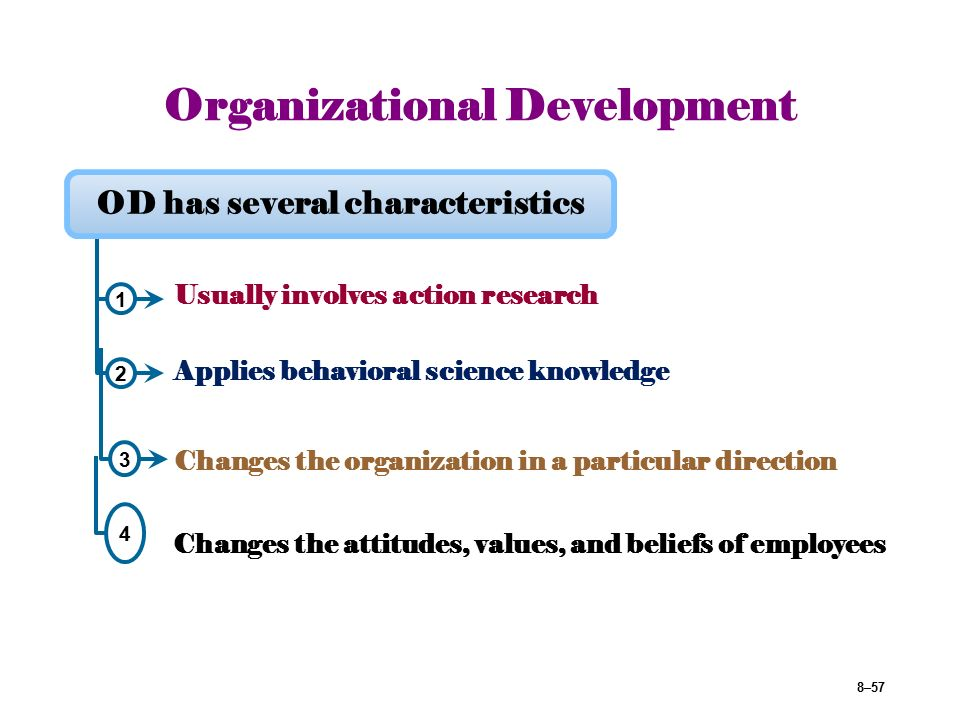 behavioral science organization development and change Although the use of organization development techniques in mental health settings is increasing, there have been no systematic studies of the effects of these efforts a management and organization development program was conducted in eight mental health agencies.