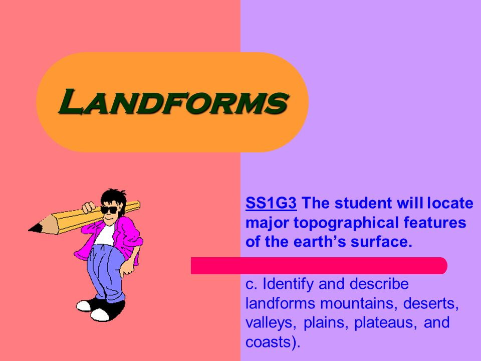 Landforms SS1G3 The student will locate major topographical ...