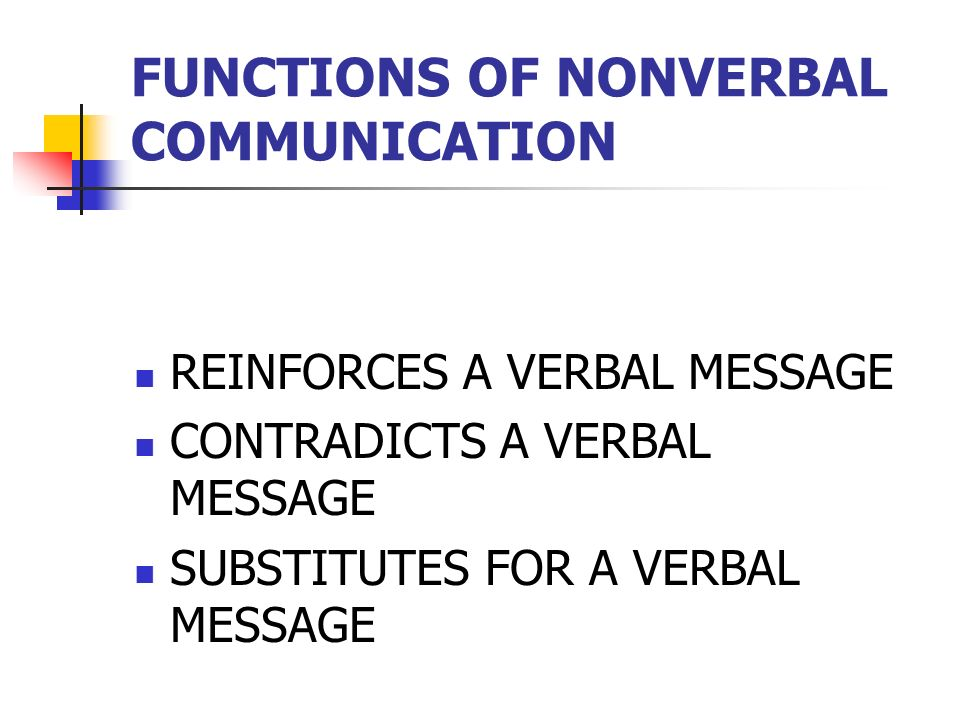 functions of nonverbal communication Researchers allan and barbara pease found that 83 percent of communication is  nonverbal, but i wanted to know what impact it had on.