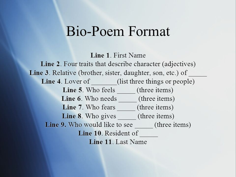 how to write a bio poem The writing hamburger model - i have published bio-poems by printing the poem and a digital photo of the now write your own bio-poem and one for your close friend.