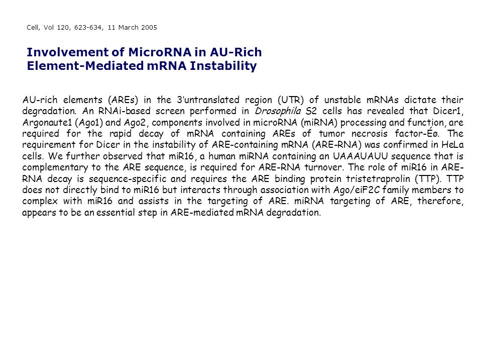 Involvement of MicroRNA in AU-Rich Element-Mediated mRNA Instability